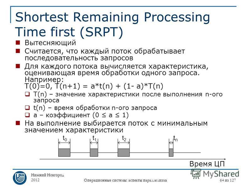 Нижний Новгород 2012 Операционные системы: аспекты параллелизма 64 из 127 Shortest Remaining Processing Time first (SRPT) Вытесняющий Считается, что каждый поток обрабатывает последовательность запросов Для каждого потока вычисляется характеристика,