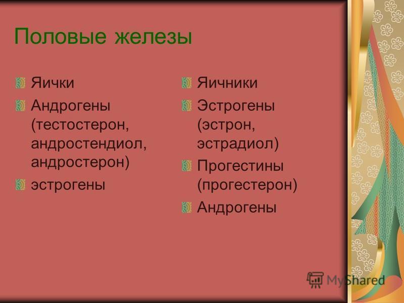 Половые железы Яички Андрогены (тестостерон, андростендиол, андростерон) эстрогены Яичники Эстрогены (эстрон, эстрадиол) Прогестины (прогестерон) Андрогены