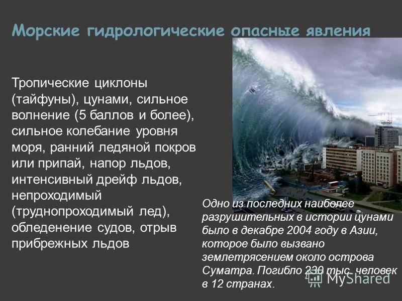Морские гидрологические опасные явления Тропические циклоны (тайфуны), цунами, сильное волнение (5 баллов и более), сильное колебание уровня моря, ранний ледяной покров или припай, напор льдов, интенсивный дрейф льдов, непроходимый (труднопроходимый
