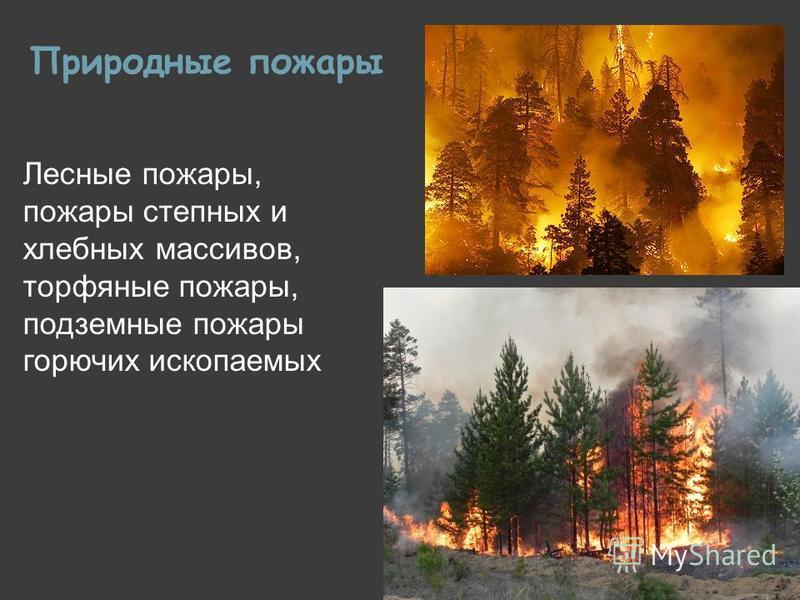 Природные пожары Лесные пожары, пожары степных и хлебных массивов, торфяные пожары, подземные пожары горючих ископаемых