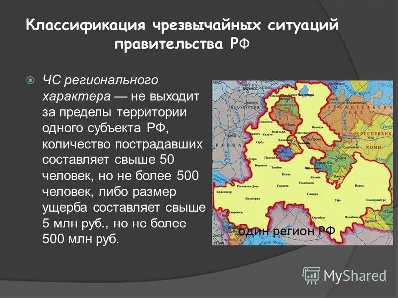 Классификация чрезвычайных ситуаций правительства Р Ф ЧС регионального характера не выходит за пределы территории одного субъекта РФ, количество пострадавших составляет свыше 50 человек, но не более 500 человек, либо размер ущерба составляет свыше 5