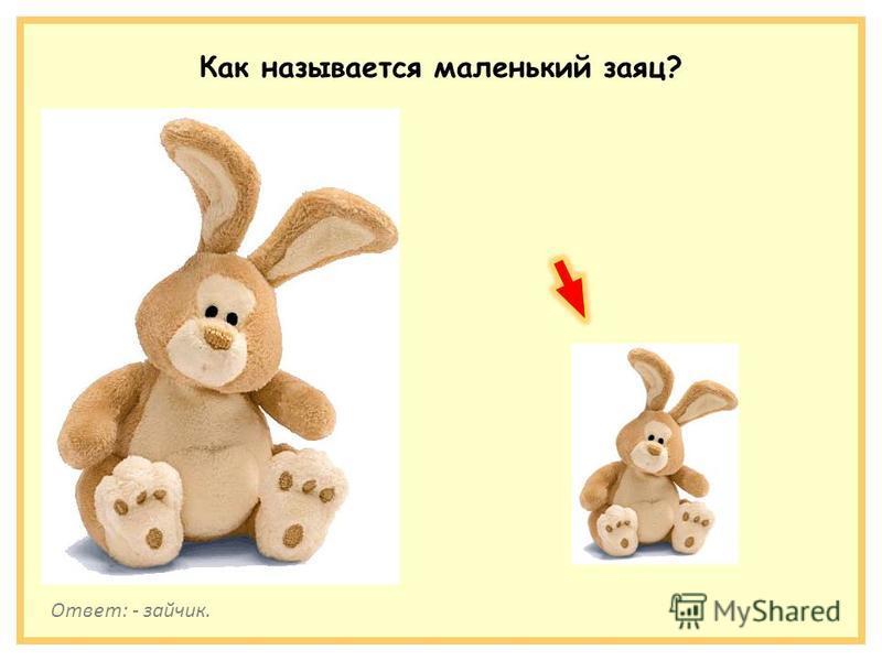 Как называется маленький заяц? Ответ: - зайчик.