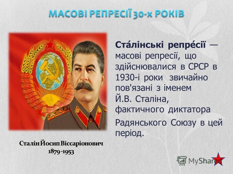 Ста́лінські репре́сії масові репресії, що здійснювалися в СРСР в 1930-і роки звичайно пов'язані з іменем Й.В. Сталіна, фактичного диктатора Радянського Союзу в цей період.