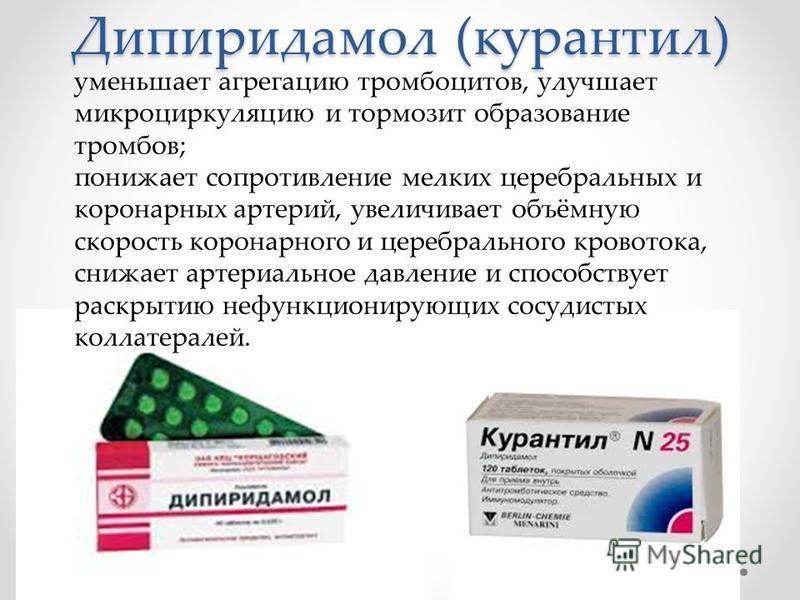 Дипиридамол (курантил) уменьшает агрегацию тромбоцитов, улучшает микроциркуляцию и тормозит образование тромбов; понижает сопротивление мелких церебральных и коронарных артерий, увеличивает объёмную скорость коронарного и церебрального кровотока, сни