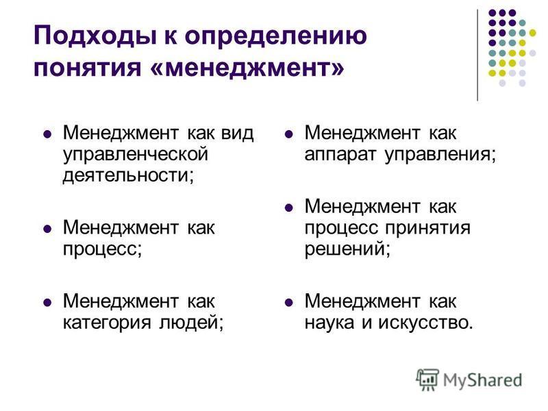 Подходы к определению понятия «менеджмент» Менеджмент как вид управленческой деятельности; Менеджмент как процесс; Менеджмент как категория людей; Менеджмент как аппарат управления; Менеджмент как процесс принятия решений; Менеджмент как наука и иску
