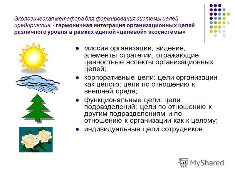 Экологическая метафора для формирования системы целей предприятия - гармоничная интеграция организационных целей различного уровня в рамках единой «целевой» экосистемы» миссия организации, видение, элементы стратегии, отражающие ценностные аспекты ор