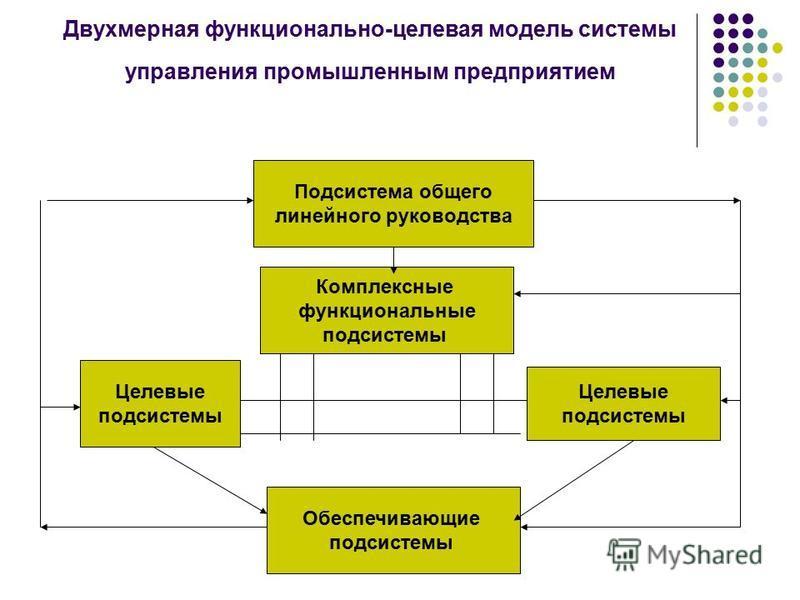 Двухмерная функционально-целевая модель системы управления промышленным предприятием Подсистема общего линейного руководства Комплексные функциональные подсистемы Целевые подсистемы Целевые подсистемы Обеспечивающие подсистемы