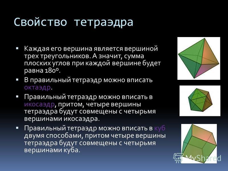 Свойство тетраэдра Каждая его вершина является вершиной трех треугольников. А значит, сумма плоских углов при каждой вершине будет равна 180º. В правильный тетраэдр можно вписать октаэдр. Правильный тетраэдр можно вписать в икосаэдр, притом, четыре в
