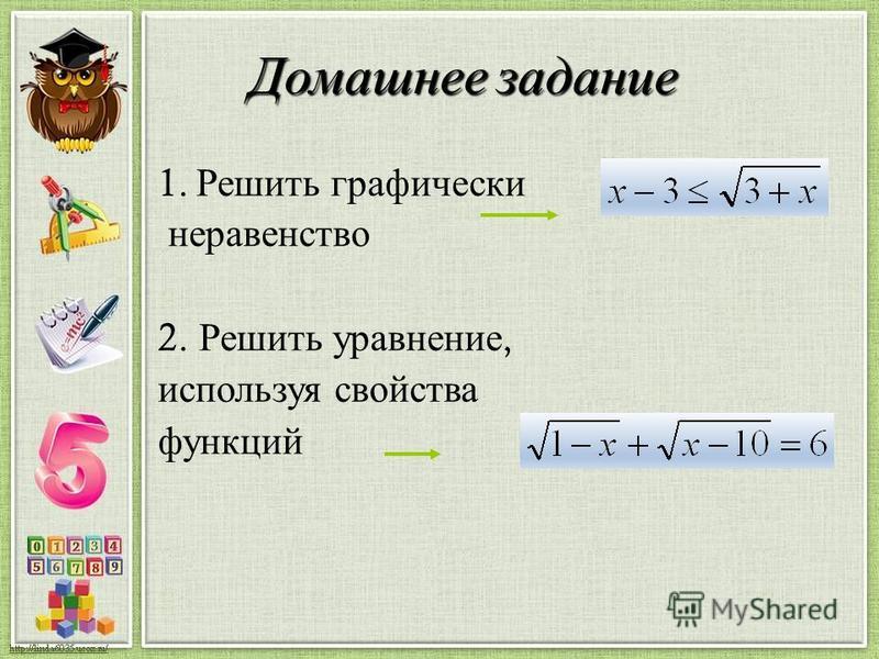 Домашнее задание 1. Решить графически неравенство 2. Решить уравнение, используя свойства функций