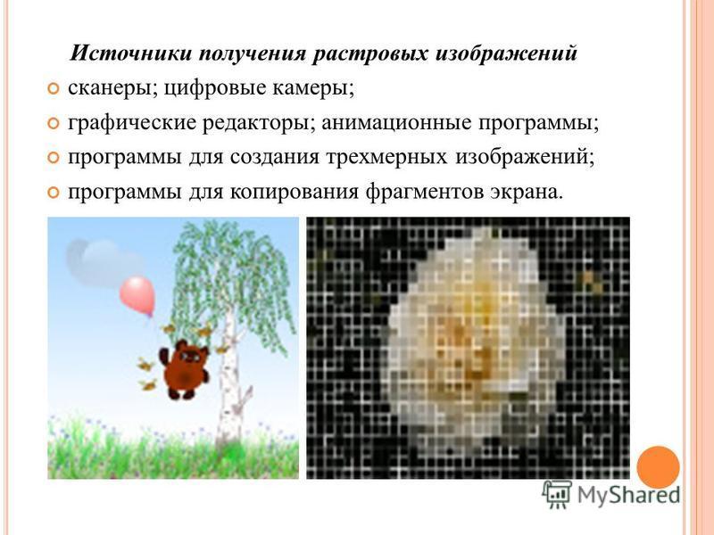 Источники получения растровых изображений сканеры ; цифровые камеры ; графические редакторы ; анимационные программы ; программы для создания трехмерных изображений ; программы для копирования фрагментов экрана.