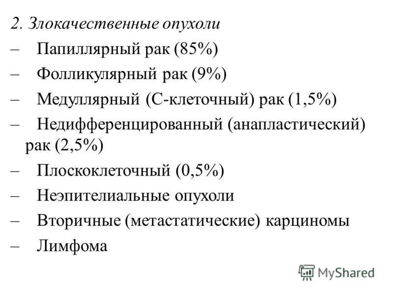 2. Злокачественные опухоли – Папиллярный рак (85%) – Фолликулярный рак (9%) – Медуллярный (С-клеточный) рак (1,5%) – Недифференцированный (анапластический) рак (2,5%) – Плоскоклеточный (0,5%) – Неэпителиальные опухоли – Вторичные (метастатические) ка