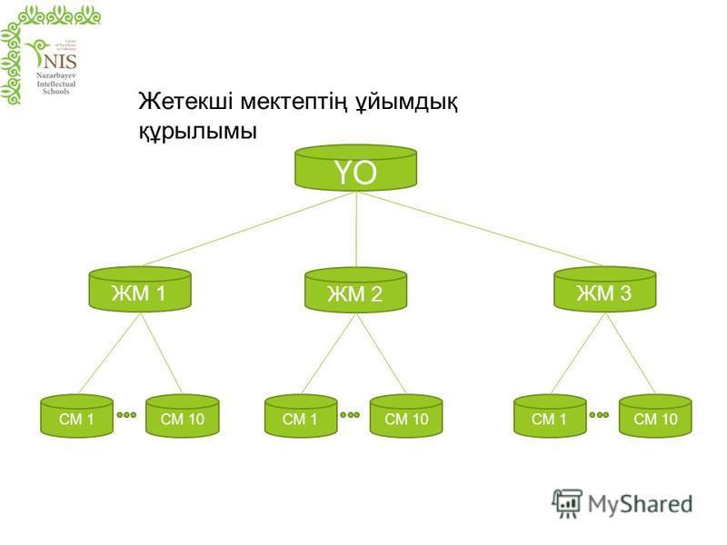 ЖМ 1 ҮО СМ 1 ЖМ 2 ЖМ 3 СМ 10СМ 1СМ 10СМ 1СМ 10 Жетекші мектептің ұйымдық құрылымы