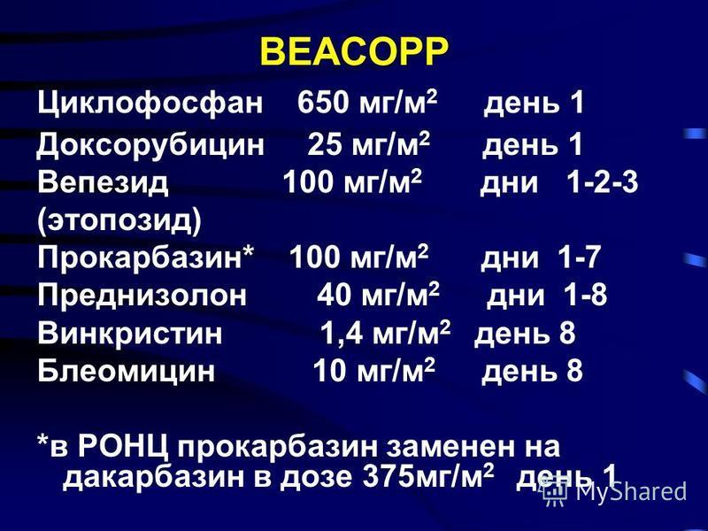 BEACOPP Циклофосфан 650 мг/м 2 день 1 Доксорубицин 25 мг/м 2 день 1 Вепезид 100 мг/м 2 дни 1-2-3 (этопозид) Прокарбазин* 100 мг/м 2 дни 1-7 Преднизолон 40 мг/м 2 дни 1-8 Винкристин 1,4 мг/м 2 день 8 Блеомицин 10 мг/м 2 день 8 *в РОНЦ прокарбазин заме