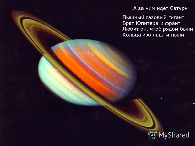 Пышный газовый гигант Брат Юпитера и франт Любит он, чтоб рядом были Кольца изо льда и пыли. А за ним идет Сатурн