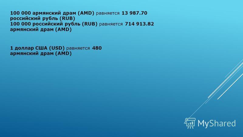 100 000 армянский драм (AMD) равняется 13 987.70 российский рубль (RUB) 100 000 российский рубль (RUB) равняется 714 913.82 армянский драм (AMD) 1 доллар США (USD) равняется 480 армянский драм (AMD)