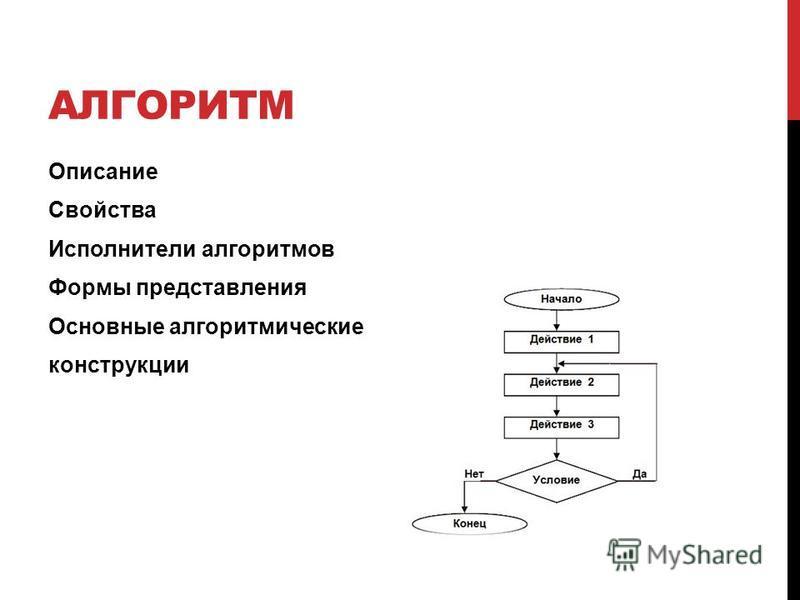 АЛГОРИТМ Описание Свойства Исполнители алгоритмов Формы представления Основные алгоритмические конструкции