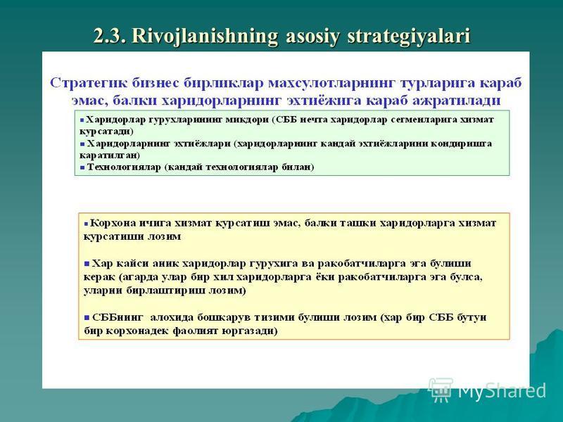 2.3. Rivojlanishning asosiy stratеgiyalari