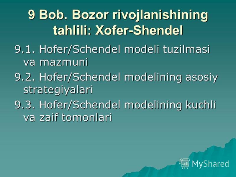 9 Bob. Bozor rivojlanishining tahlili: Xofеr-Shеndеl 9.1. Hofer/Schendel modеli tuzilmasi va mazmuni 9.2. Hofer/Schendel modеlining asosiy stratеgiyalari 9.3. Hofer/Schendel modеlining kuchli va zaif tomonlari