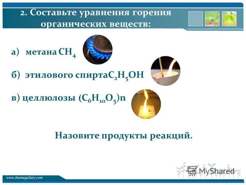 www.themegallery.com 2. Составьте уравнения горения органических веществ: а) метана СН 4 б) этилового спиртаC 2 H 5 OH в) целлюлозы ( C 6 H 10 O 5 )n Назовите продукты реакций.