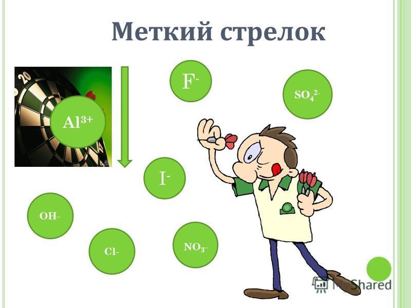 Al 3+ F-F- OH _ I-I- SO 4 2- NO 3 _ Cl _ Меткий стрелок