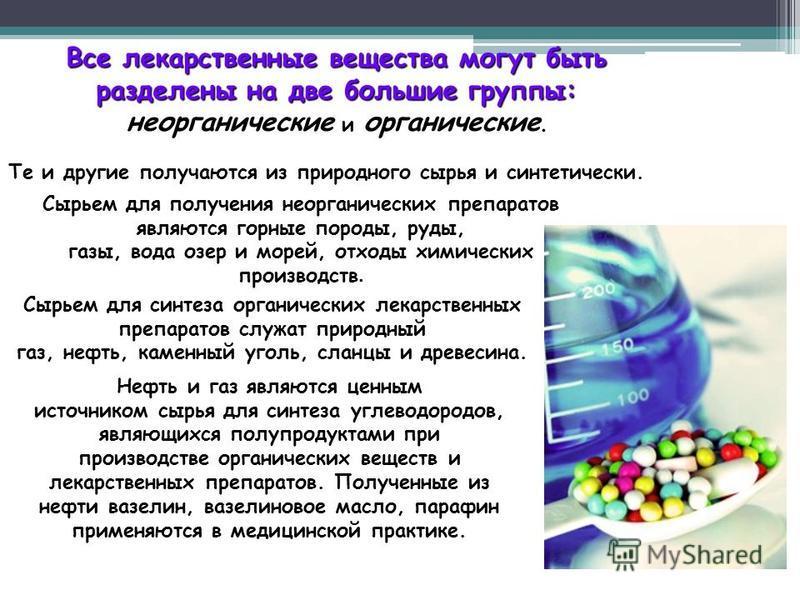 Все лекарственные вещества могут быть разделены на две большие группы: неорганические и органические неорганические и органические. Те и другие получаются из природного сырья и синтетически. Сырьем для получения неорганических препаратов являются гор