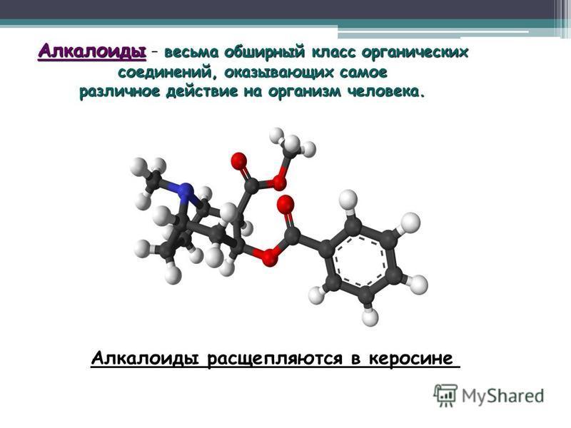 Алкалоиды – весьма обширный класс органических соединений, оказывающих самое различное действие на организм человека. Алкалоиды расщепляются в керосине