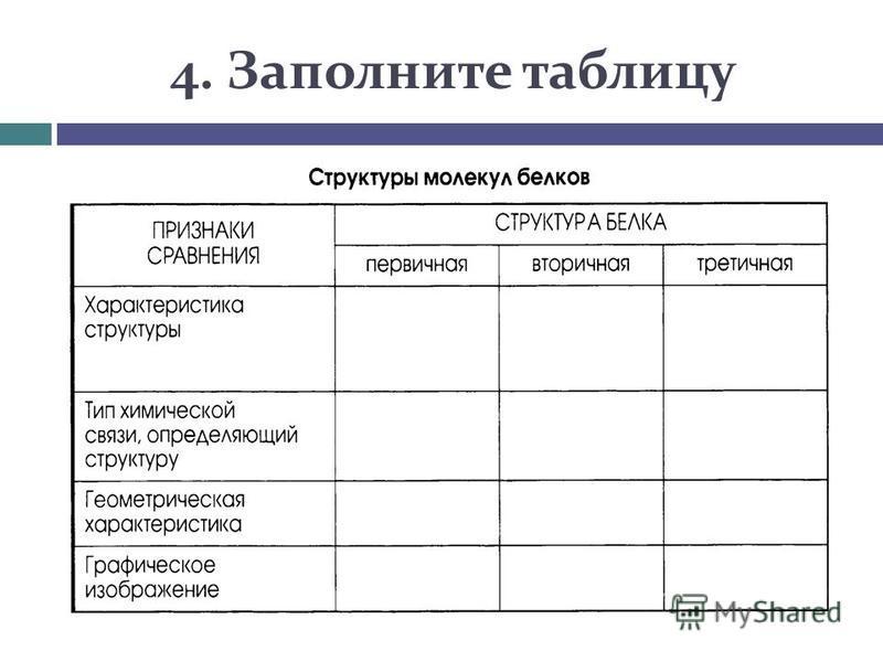 4. Заполните таблицу