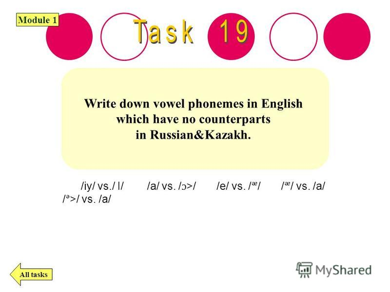 Write down vowel phonemes in English which have no counterparts in Russian&Kazakh. All tasks Module 1 /iy/ vs./ I/ /a/ vs. />/ /e/ vs. // // vs. /a/ />/ vs. /a/