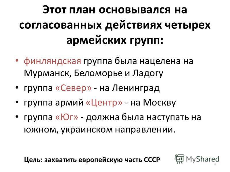 Этот план основывался на согласованных действиях четырех армейских групп: финляндская группа была нацелена на Мурманск, Беломорье и Ладогу группа «Север» - на Ленинград группа армий «Центр» - на Москву группа «Юг» - должна была наступать на южном, ук
