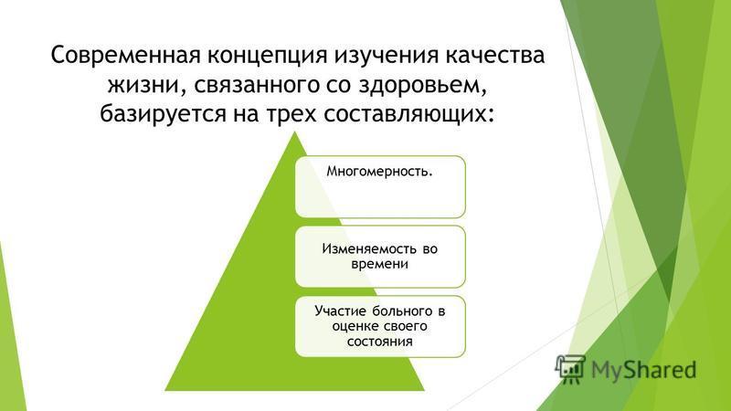 Современная концепция изучения качества жизни, связанного со здоровьем, базируется на трех составляющих: Многомерность. Изменяемость во времени Участие больного в оценке своего состояния