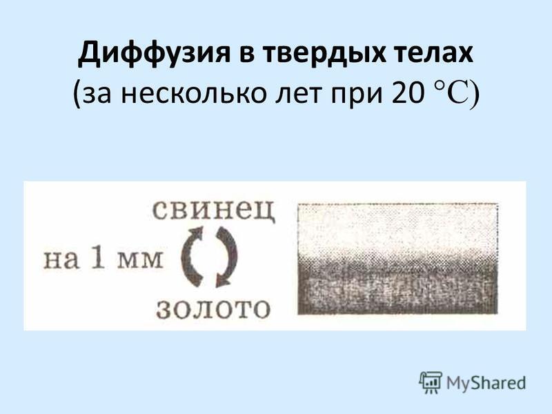 Диффузия в твердых телах (за несколько лет при 20 °С)