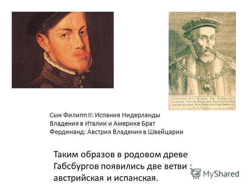 Сын Филипп II: Испания Нидерланды Владения в Италии и Америке Брат Фердинанд: Австрия Владения в Швейцарии Таким образов в родовом древе Габсбургов появились две ветви : австрийская и испанская.