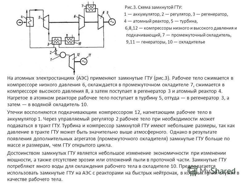 \ Рис.3. Схема замкнутой ГТУ: 1 аккумулятор, 2 регулятор, 3 регенератор, 4 атомный реактор, 5 турбина, 6,8,12 компрессоры низкого и высокого давления и подкачивающий, 7 промежуточный охладитель, 9,11 генераторы, 10 охладителье На атомных электростанц