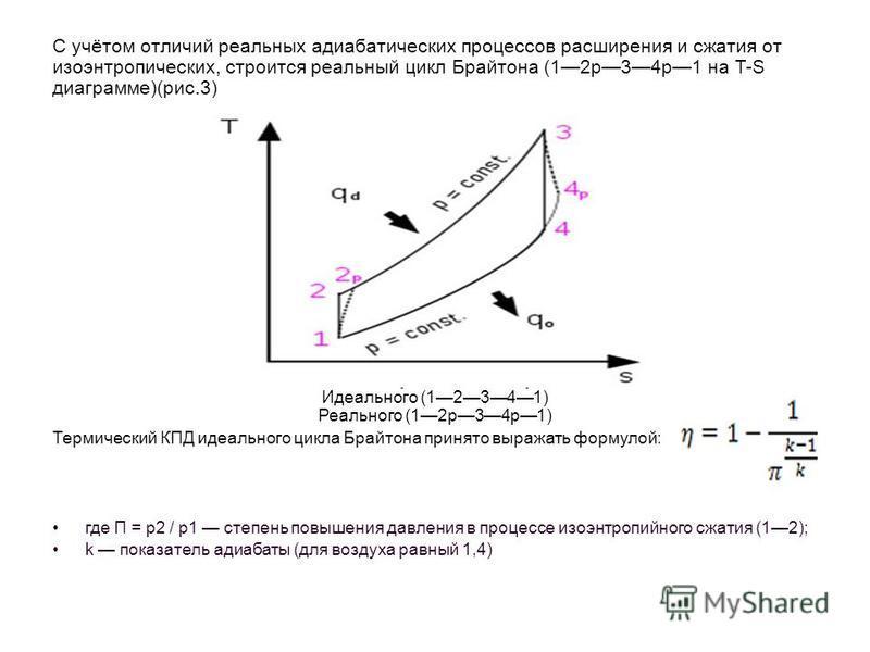 С учётом отличий реальных адиабатических процессов расширения и сжатия от изоэнтропических, строится реальный цикл Брайтона (12p34p1 на T-S диаграмме)(рис.3) Рис.3. T-S диаграмма цикла Брайтона Идеального (12341) Реального (12p34p1) Термический КПД и