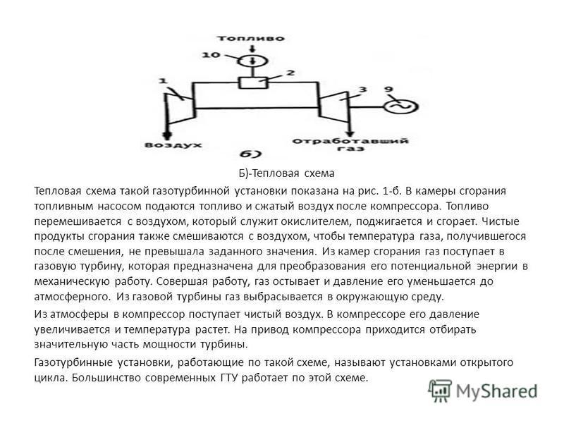 Б)-Тепловая схема Тепловая схема такой газотурбинной установки показана на рис. 1-б. В камеры сгорания топливным насосом подаются топливо и сжатый воздух после компрессора. Топливо перемешивается с воздухом, который служит окислителем, поджигается и