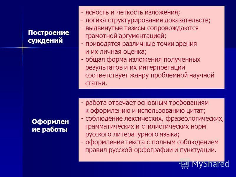 Построение суждений - ясность и четкость изложения; - логика структурирования доказательств; - выдвинутые тезисы сопровождаются грамотной аргументацией; - приводятся различные точки зрения и их личная оценка; - общая форма изложения полученных резуль
