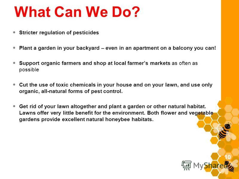 What Can We Do? Stricter regulation of pesticides Plant a garden in your backyard – even in an apartment on a balcony you can! Support organic farmers and shop at local farmers markets as often as possible Cut the use of toxic chemicals in your house