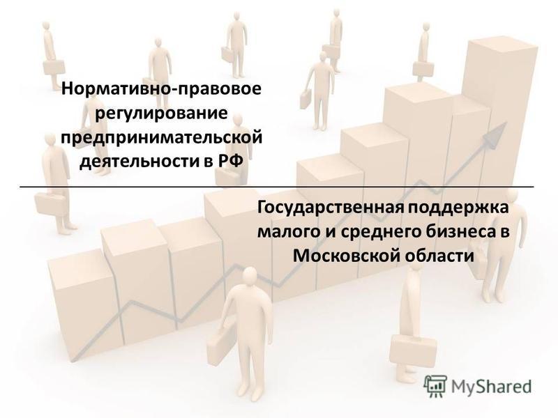 Нормативно-правовое регулирование предпринимательской деятельности в РФ Государственная поддержка малого и среднего бизнеса в Московской области