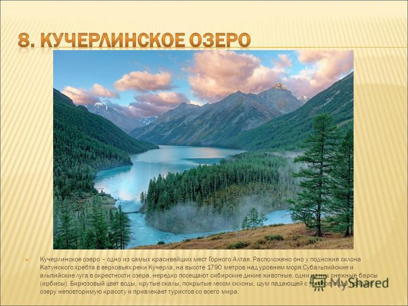 Кучерлинское озеро – одно из самых красивейших мест Горного Алтая. Расположено оно у подножия склона Катунского хребта в верховьях реки Кучерла, на высоте 1790 метров над уровнем моря.Субальпийские и альпийские луга в окрестности озера, нередко посещ