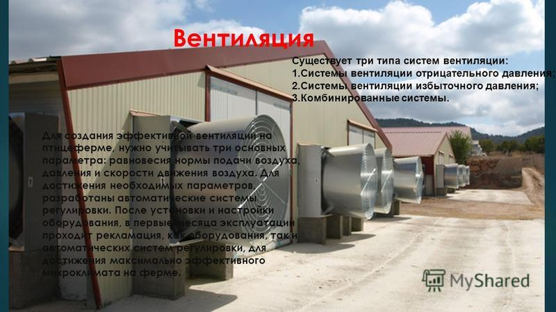 Вентиляция Существует три типа систем вентиляции: 1. Системы вентиляции отрицательного давления; 2. Системы вентиляции избыточного давления; 3. Комбинированные системы. Для создания эффективной вентиляции на птицеферме, нужно учитывать три основных п