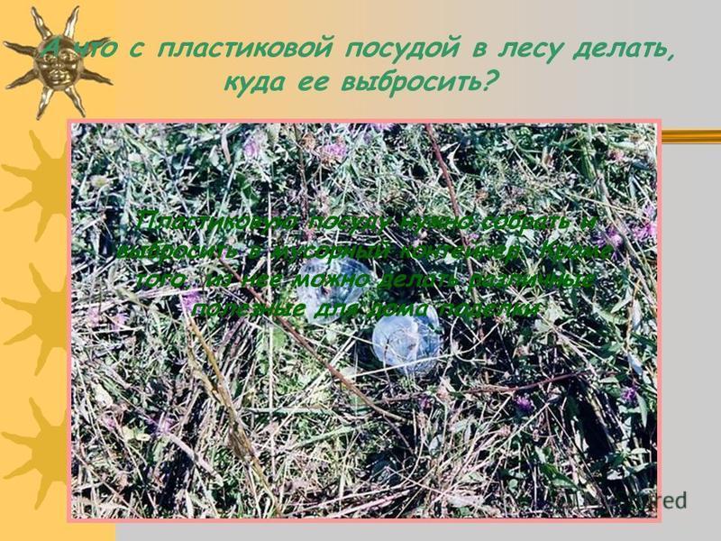 А что с пластиковой посудой в лесу делать, куда ее выбросить? Пластиковую посуду нужно собрать и выбросить в мусорный контейнер. Кроме того, из нее можно делать различные полезные для дома поделки