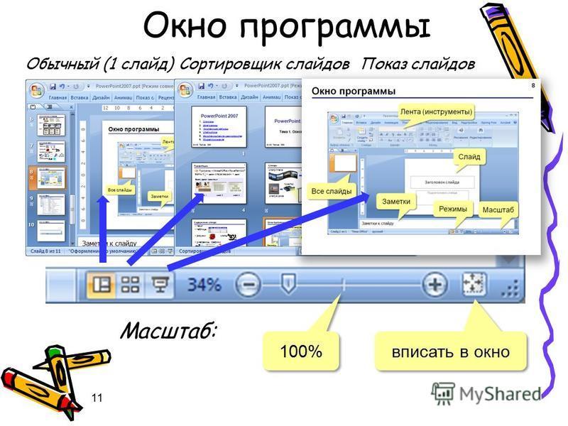11 Обычный (1 слайд)Сортировщик слайдов Показ слайдов Масштаб: 100% вписать в окно