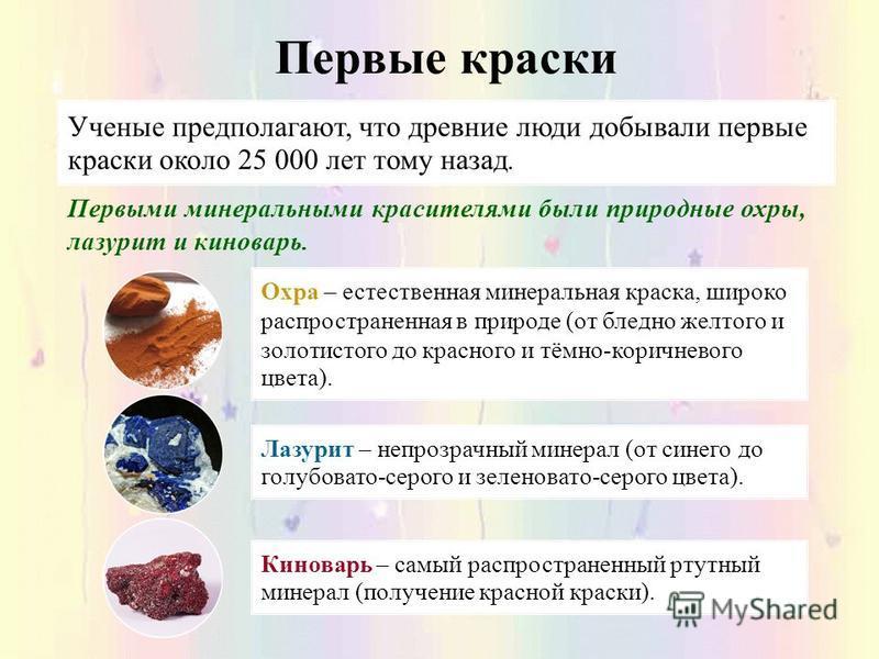 Первые краски Ученые предполагают, что древние люди добывали первые краски около 25 000 лет тому назад. Первыми минеральными красителями были природные охры, лазурит и киноварь. Охра – естественная минеральная краска, широко распространенная в природ