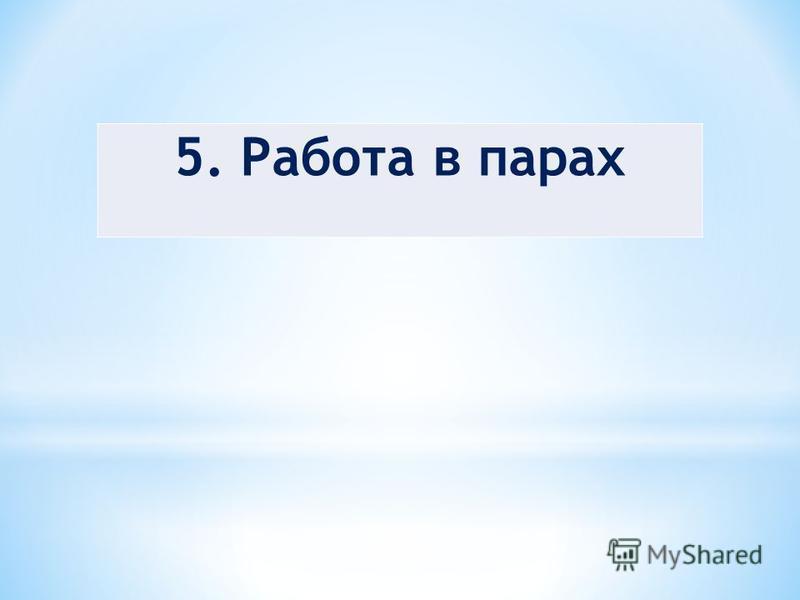 5. Работа в парах