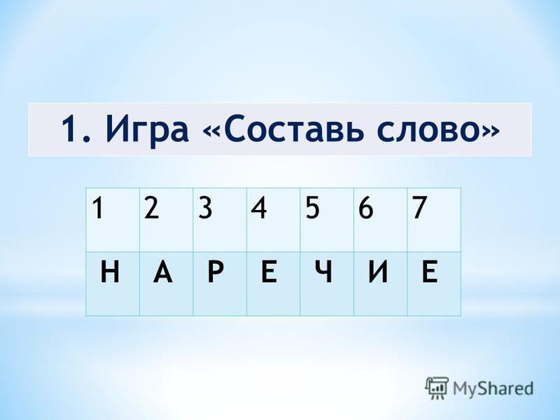 1. Игра «Составь слово» 1234567 Н А Р Е Ч И Е