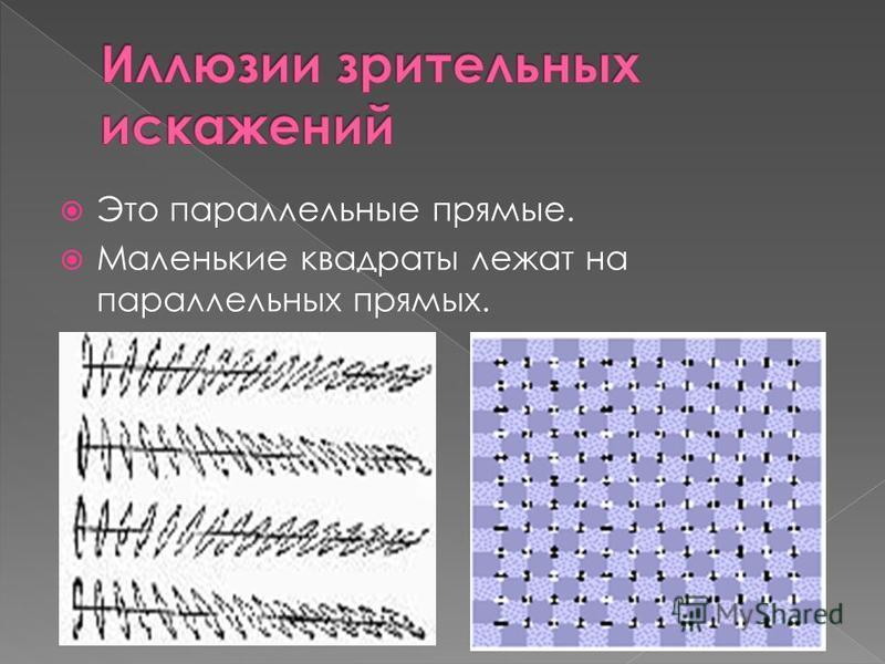 Это параллельные прямые. Маленькие квадраты лежат на параллельных прямых.