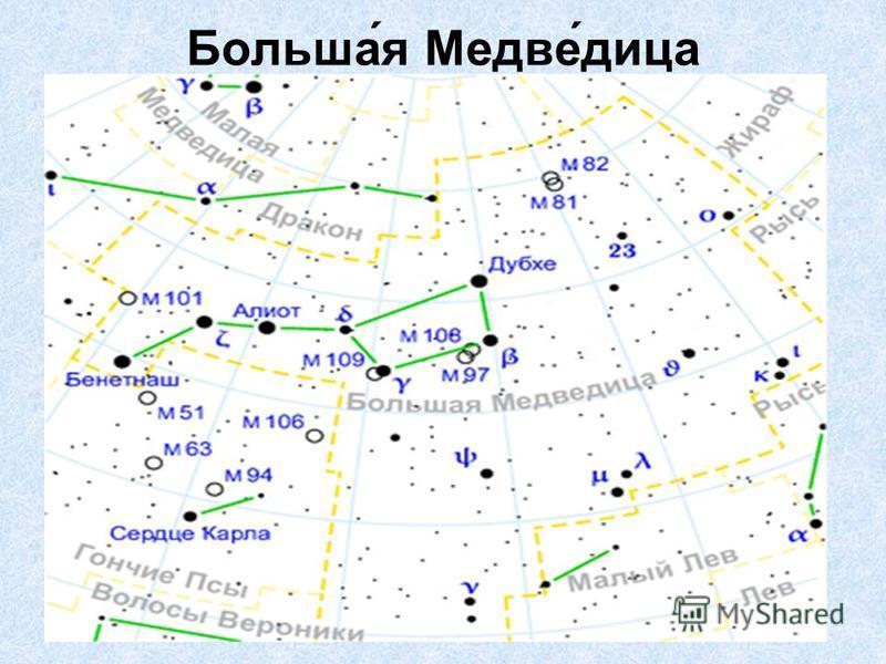 Больша́я Медве́дица незаходящее созвездие северного полушария неба. Семь звёзд Большой Медведицы составляют фигуру, напоминающую ковш с ручкой. Две самые яркие звезды Алиот и Дубхе имеют блеск 1,8 видимой звёздной величины. По двум крайним звёздам эт