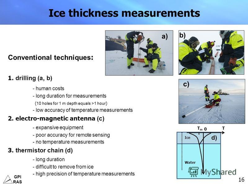 GPI RAS 16 Ice thickness measurements Conventional techniques : 1. drilling (a, b) - human costs - long duration for measurements ( 10 holes for 1 m depth equals >1 hour ) - low accuracy of temperature measurements 2. electro-magnetic antenna (c) - e