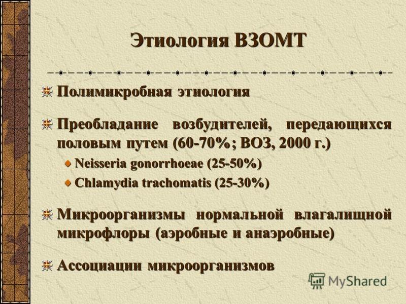 Этиология ВЗОМТ Полимикробная этиология Преобладание возбудителей, передающихся половым путем (60-70%; ВОЗ, 2000 г.) Neisseria gonorrhoeae (25-50%) Chlamydia trachomatis (25-30%) Микроорганизмы нормальной влагалищной микрофлоры (аэробные и анаэробные
