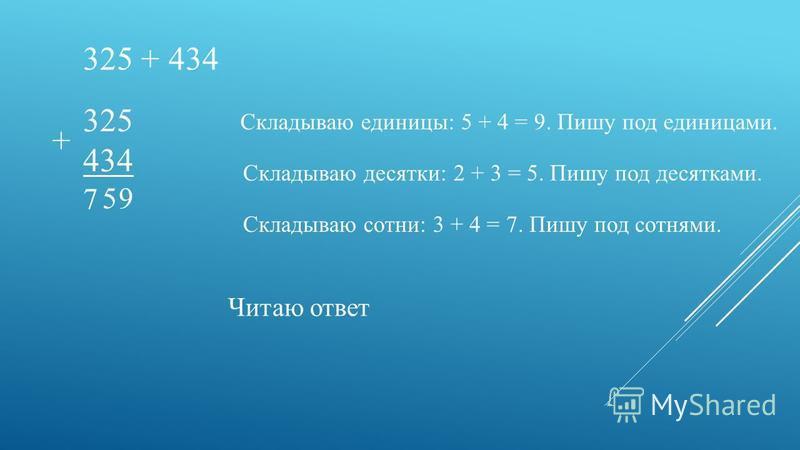 325 + 434 325 434 + Складываю единицы: 5 + 4 = 9. Пишу под единицами. 9 Складываю десятки: 2 + 3 = 5. Пишу под десятками. 5 Складываю сотни: 3 + 4 = 7. Пишу под сотнями. 7 Читаю ответ